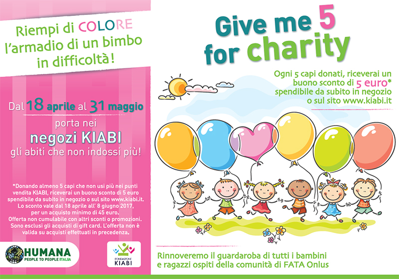 Kiabi e Humana per  Give  me  5  for charity