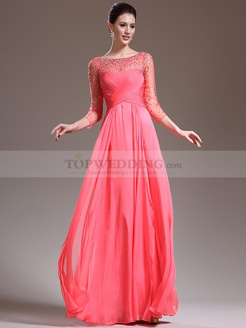 Beaded-Three-Quarter-Sleeve-Tulle-and-Chiffon-A-Line-Mother-of-the-Bride-Dress