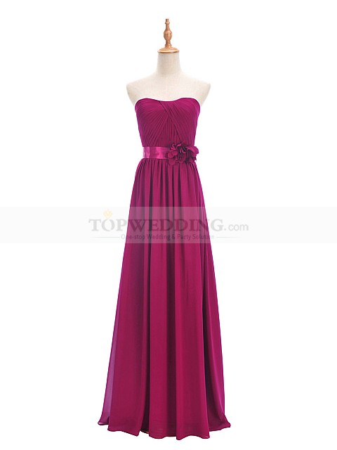 Dark-Magenta-Strapless-Chiffon-Bridesmaid-Dress-with-Pleated-Bodice-and-Floral-Sash
