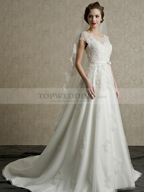 Sheer-Scoop-Neckline-Appliqued-Tulle-A-Line-Wedding-Dress