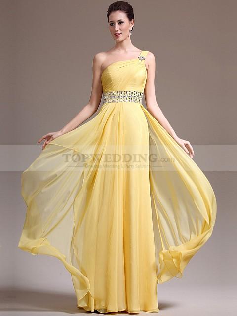 Single-Strap-Chiffon-A-Line-Prom-Dress-with-Crystal-Embellished-Belt
