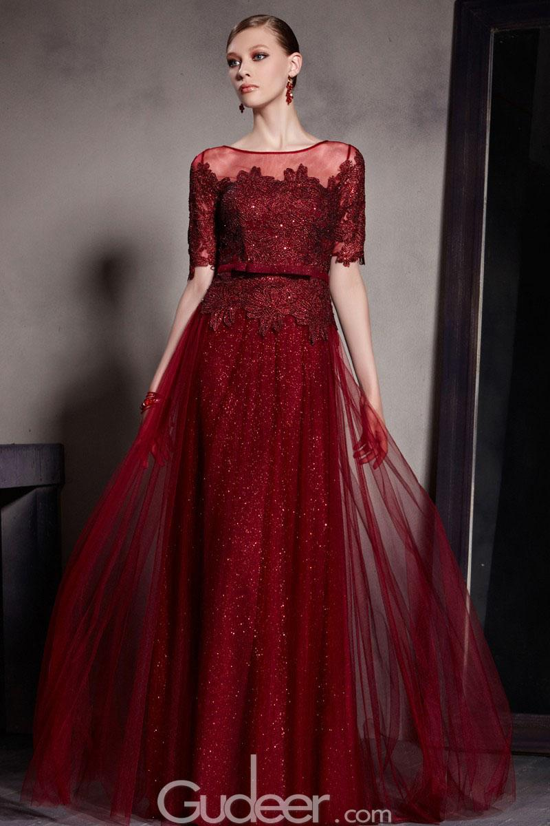 burgundy-illusion-bateau-neck-short-sleeve-embroidered-tulle-evening-dress-1