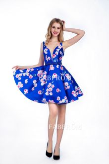 deep-v-neck-floral-print-royal-blue-sleeveless-elegant-short-cocktail-dress-thumb