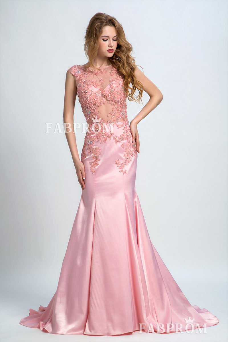 delicate-floral-lace-embroidered-pink-trumpet-prom-dress-illusion-cap-sleeves