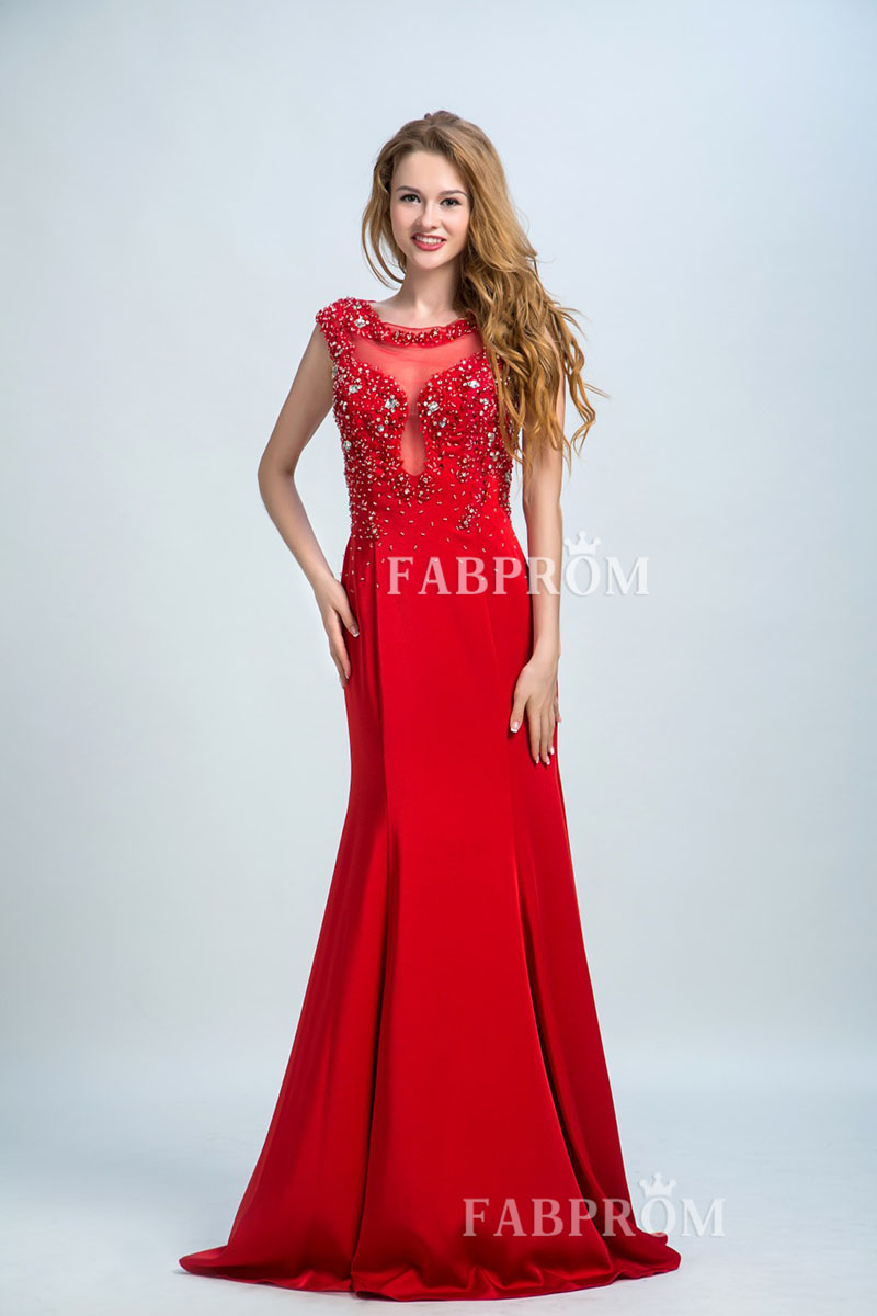 silver-crystal-red-chiffon-fit-and-flare-evening-dress-illusion-neck-cap-sleeve