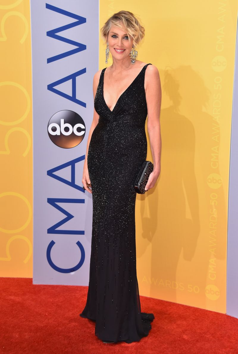 sharon-stone-in-a-slinky-beaded-black-dress-at-the-red-carpet-of-cma-2016