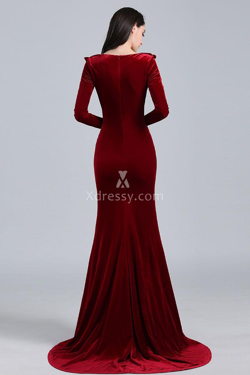 burgundy-velvet-long-sleeve-evening-prom-dress-5